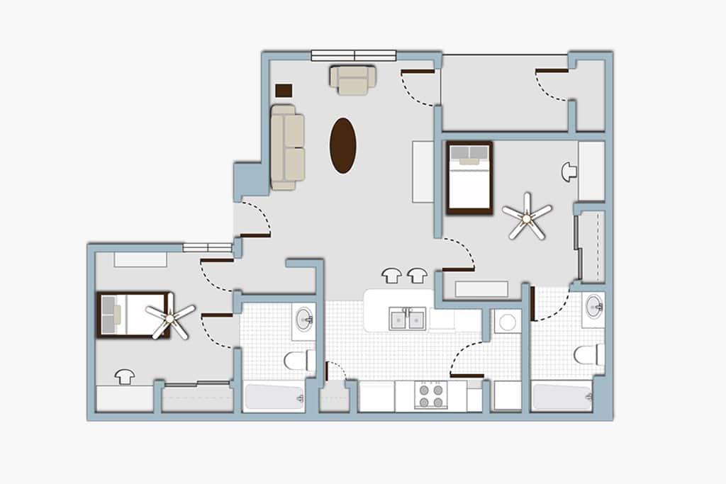 Gateway at Denton 2x2 Apartment