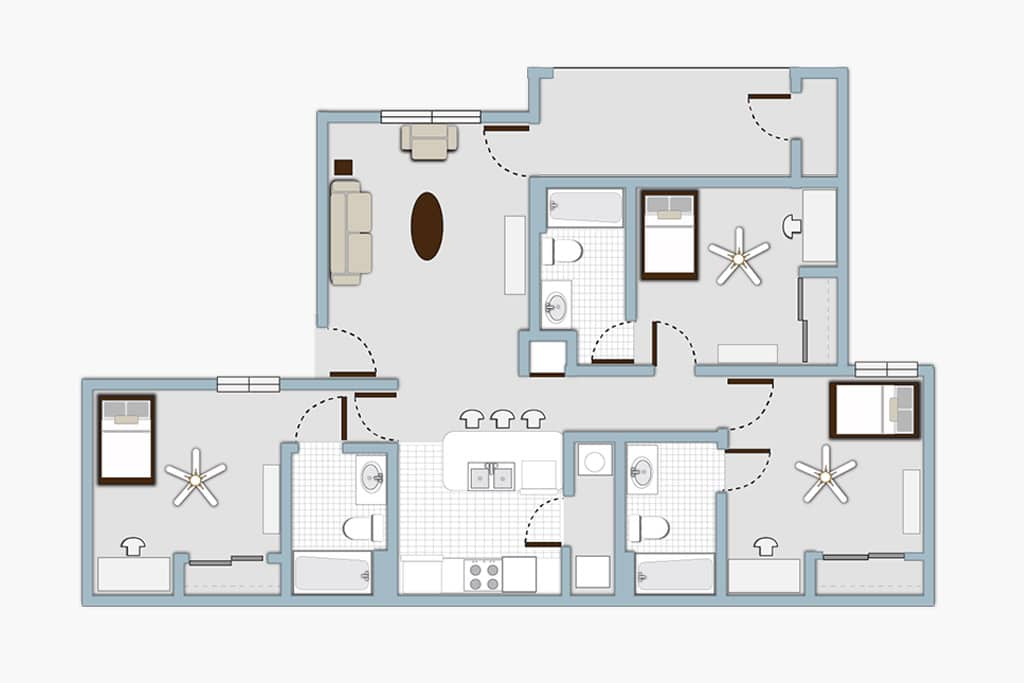Gateway at Denton 3x3 Apartment